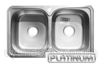 Мийка 7848D 0,8 прямокутна 2 чаши сатин (Platinum)