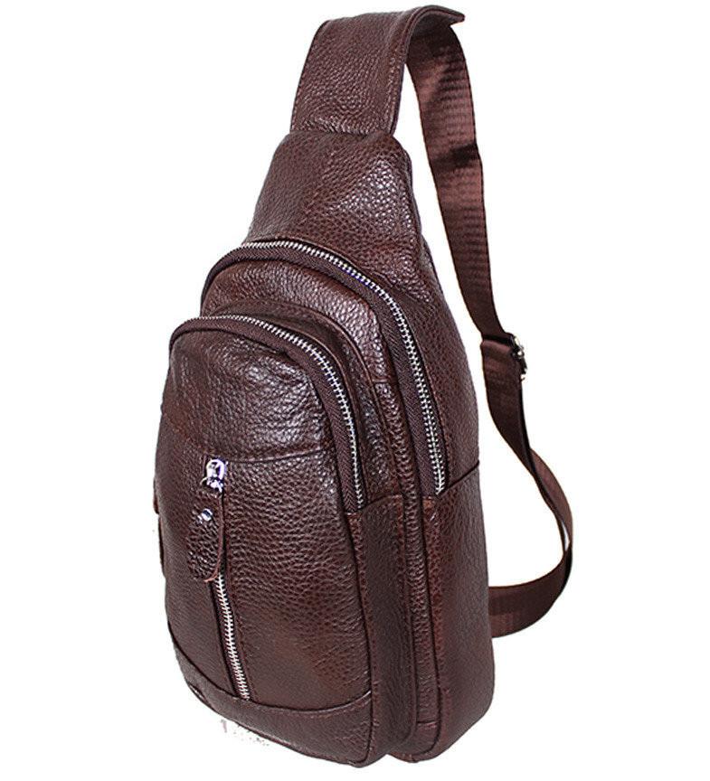 Сумка кожаная мужская барсетка городской рюкзак на плечо косуха 8s9 коричневая кожа Польша 31х18см от 5шт