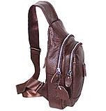 Сумка кожаная мужская барсетка городской рюкзак на плечо косуха 8s9 коричневая кожа Польша 31х18см от 5шт, фото 2