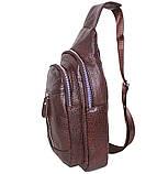 Сумка кожаная мужская барсетка городской рюкзак на плечо косуха 8s9 коричневая кожа Польша 31х18см от 5шт, фото 3