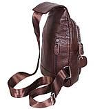 Сумка кожаная мужская барсетка городской рюкзак на плечо косуха 8s9 коричневая кожа Польша 31х18см от 5шт, фото 4