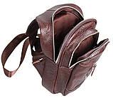 Сумка кожаная мужская барсетка городской рюкзак на плечо косуха 8s9 коричневая кожа Польша 31х18см от 5шт, фото 5