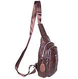Сумка кожаная мужская барсетка городской рюкзак на плечо косуха 8s9 коричневая кожа Польша 31х18см от 5шт, фото 7
