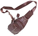 Сумка кожаная мужская барсетка городской рюкзак на плечо косуха 8s9 коричневая кожа Польша 31х18см от 5шт, фото 8