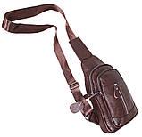 Сумка кожаная мужская барсетка городской рюкзак на плечо косуха 8s9 коричневая кожа Польша 31х18см от 5шт, фото 9