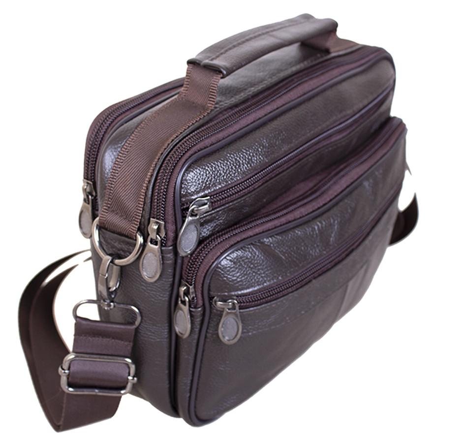 Кожаная сумка мужская через плечо из кожи барсетка кожа Люкс 23х19х6см 8s40205 коричневая Польша от 5шт