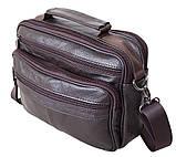 Кожаная сумка мужская через плечо из кожи барсетка кожа Люкс 23х19х6см 8s40205 коричневая Польша от 5шт, фото 2