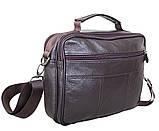 Кожаная сумка мужская через плечо из кожи барсетка кожа Люкс 23х19х6см 8s40205 коричневая Польша от 5шт, фото 4
