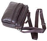 Кожаная сумка мужская через плечо из кожи барсетка кожа Люкс 23х19х6см 8s40205 коричневая Польша от 5шт, фото 5