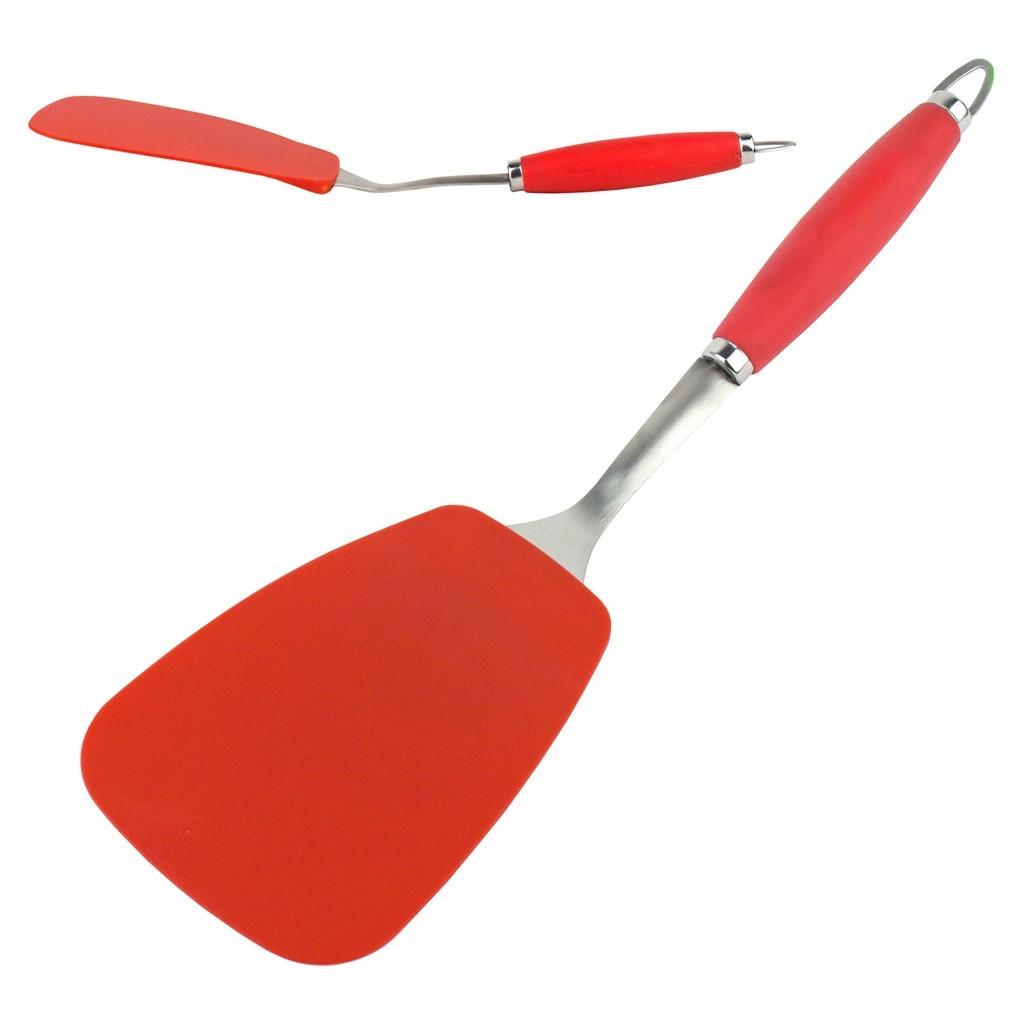 Лопатка тефлоновая широкая красная L38см ручка 23см ширина 10,5см