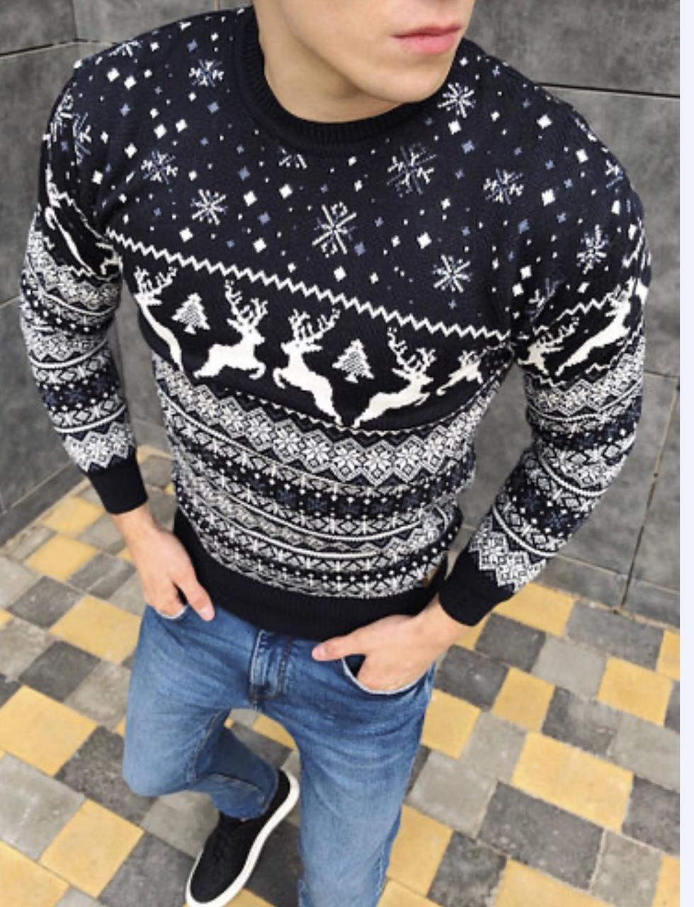 Тёплый молодёжный свитер с оленями  М-2XL большой ассортимент,разные цвета и орнаменты