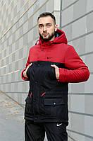 Зимняя теплая парка Nike мужская куртка Найк красная - черная размеры s m l xl xxl цвет красно-черный