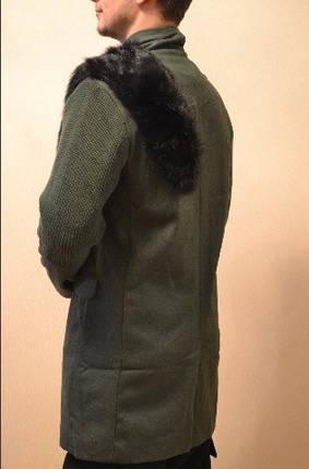 Уникальное зимнее пальто с мехом хаки, фото 2