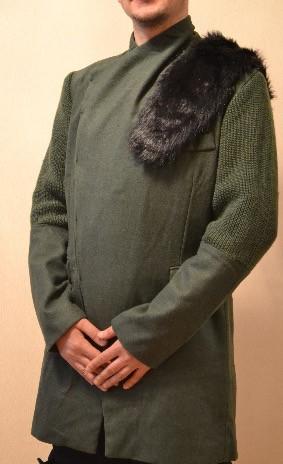 Уникальное зимнее пальто с мехом хаки