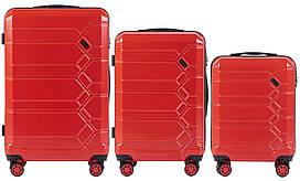 Набор поликарбонат чемоданов 3 в 1 Wings PC 185 на 4 сдвоенных колесах Красный (Blood red)