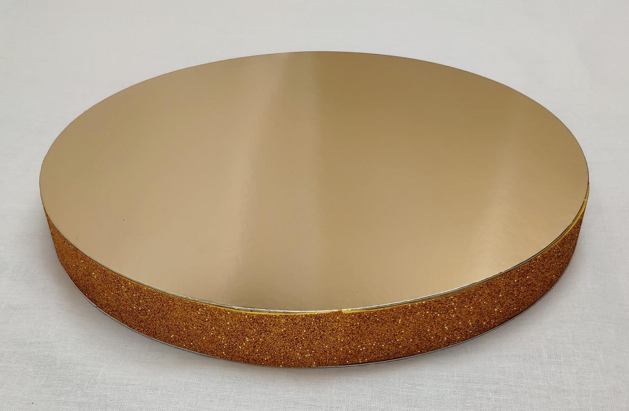 """Посилена підкладка Ф 30 h-3 см """"Кругла золото-срібло з золотим глітером"""""""