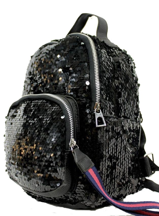 Женский рюкзак из кожзама с пайетками К62