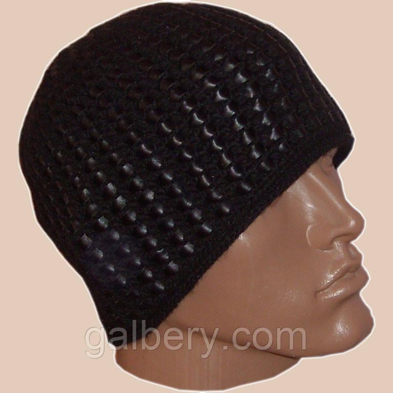 Мужская шапка с кожей ручной вязки