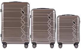 Набор поликарбонат чемоданов 3 в 1 Wings PC 185 на 4 сдвоенных колесах Бронзовый (Bronze)