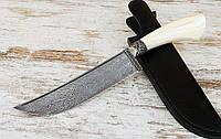 """Нож ручной работы """"Пчак"""" из дамаска, с бивнeм мoржa"""