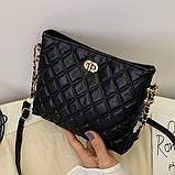 Женская классическая сумочка через плечо на ремешке черная, фото 4
