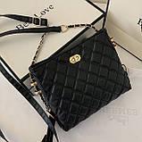 Женская классическая сумочка через плечо на ремешке черная, фото 5