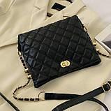 Женская классическая сумочка через плечо на ремешке черная, фото 6