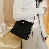 Женская классическая сумочка через плечо на ремешке черная, фото 9
