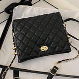 Женская классическая сумочка через плечо на ремешке черная, фото 10