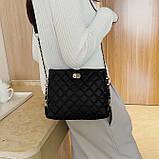 Женская классическая сумочка через плечо на ремешке черная, фото 3