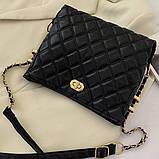 Женская классическая сумочка через плечо на ремешке черная, фото 7
