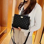 Женская классическая сумочка через плечо на ремешке черная, фото 2