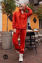 Женский оранжевый спортивный костюм с капюшоном с начесом