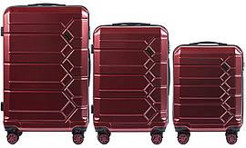 Набор поликарбонат чемоданов 3 в 1 Wings PC 185 на 4 сдвоенных колесах Бордовый (Wine red)
