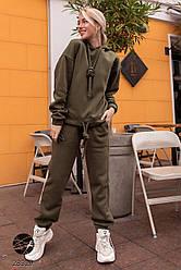 Женский спортивный костюм хаки с капюшоном с начесом