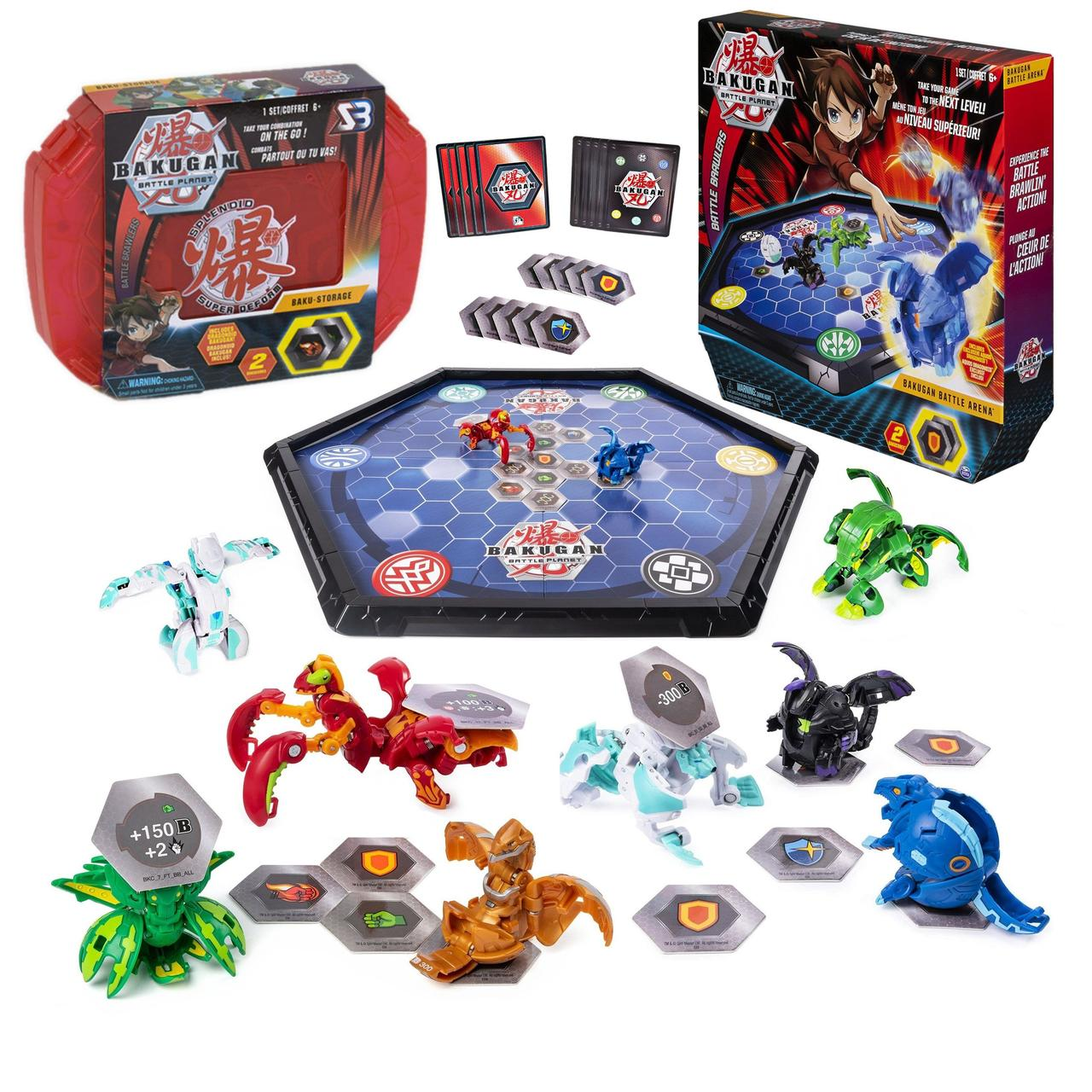 Bakugan Battle planet, бакуганы 8 шт. + арена + красный бокс для бакуганов