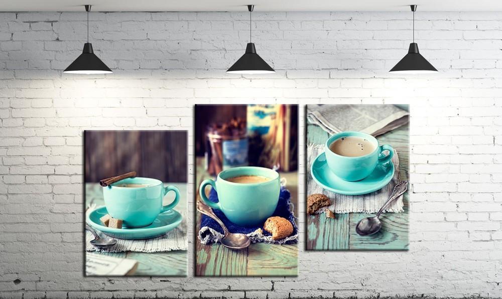 Модульная картина на холсте DK Store из трех частей Кофейная жизнь (SM3-3)