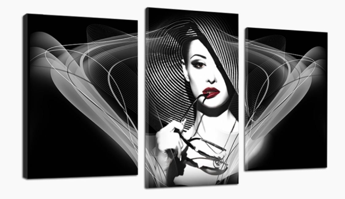Модульна картина DK Store Дама в капелюсі 70x110 см (481_3)