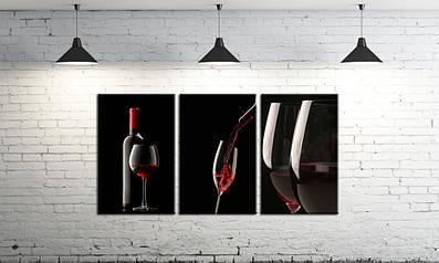 Модульная картина на холсте DK Store из трех частей Вино красное (SM3-4009)