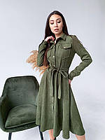 Женское замшевое платье с пояском