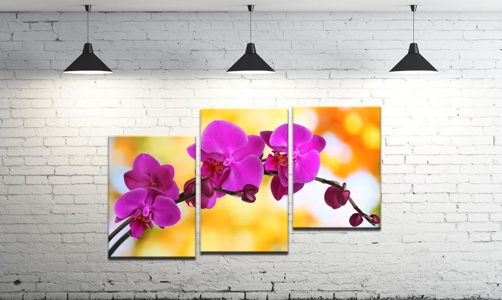 Модульна картина на полотні DK Store з трьох частин Яскрава квітка (SM3-t32)