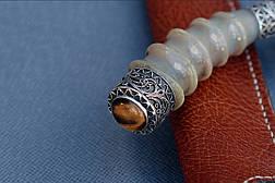 """Нож ручной работы из дамасской стали """"Пчак"""", с рогом сайгака и серебром, фото 3"""