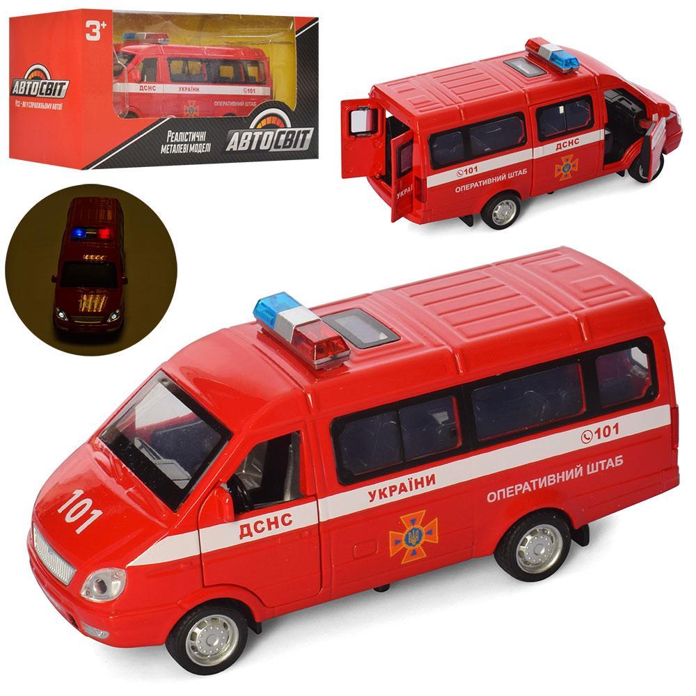 Спецслужби AS-2490 АвтоСвіт, металл, пожежна, музыка, свет, на батарейках (таблетки), в коробке20,5-9,5-8 см