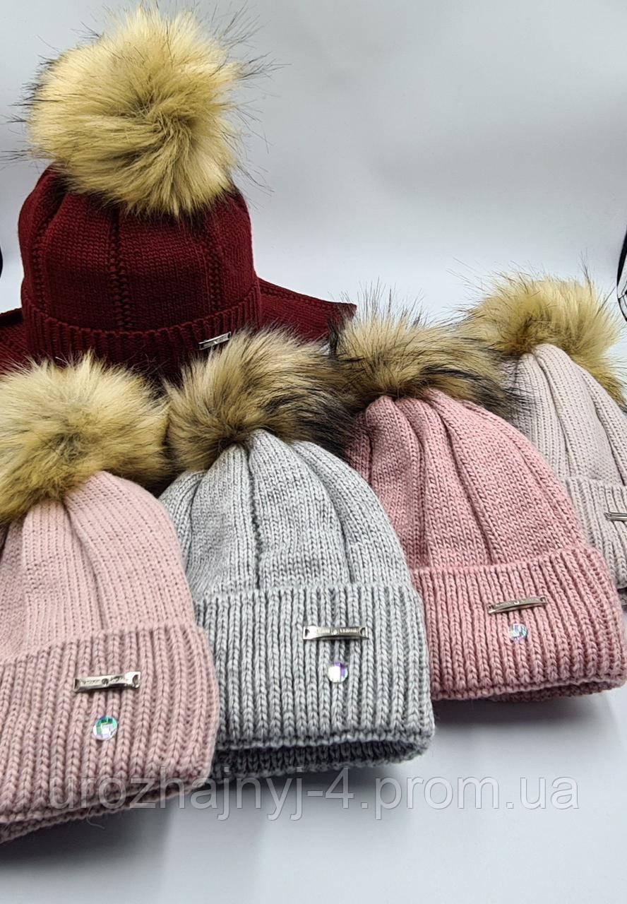 В'язаний набір шапка і хомут на флісі р52-54 код 5051