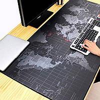 Коврик для мыши 70*30 black map (карта мира)