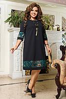 Нарядное женское платье Креп дайвинг Флок на сетке Размер 50 52 54 56 58 60 62 64, фото 1
