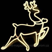 Олень новогодний/ тепло белый_ 60 см