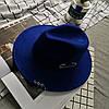 Капелюх фетровий WildJazz Федора з стійкими полями і металевим декором синя