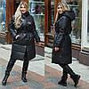 Зимнее женское пальто с поясом в черном цвете ДВ/-21289
