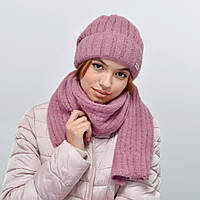 Комплект Nord 5554 шапка+шарф (альпака) пыльная роза, фото 1